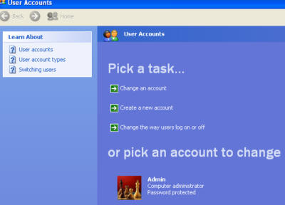 Set User Accounts Screen